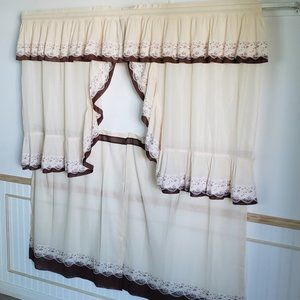 """Vintage Accents - Vtg 60s Cafe Curtains 58""""W Tan Brown 4 Pcs Ruffled"""